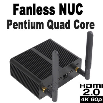 Fanless Quad Core Pentium J5005 NUC PC, 4GB DDR4, 256GB SSD, Dual HDMI 2.0a [Newton-JC]