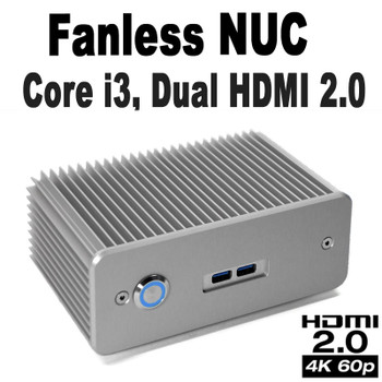 Fanless Industrial Core i3 NUC PC, 4GB DDR4, 128GB NVMe SSD, 2x HDMI 2.0 [D7NU1-i3]
