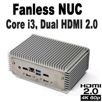 Fanless Industrial Core i3 NUC PC, 4GB DDR4, 250GB NVMe SSD, 2x HDMI 2.0 [D7NU1-i3]