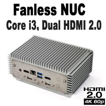 Fanless Industrial Core i3 NUC PC, 4GB DDR4, 128GB NVMe SSD, 2x HDMI 2.0 [D7NU1-i3]