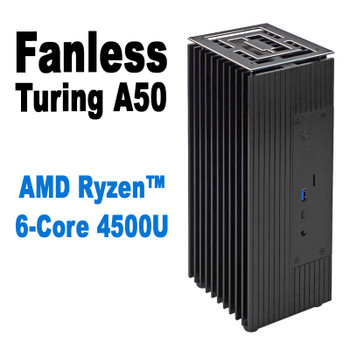 Fanless AMD Ryzen 6-Core PC, NVMe SSD, up to 4 Displays, up to 64GB DDR4 [TuringA50-4500U]