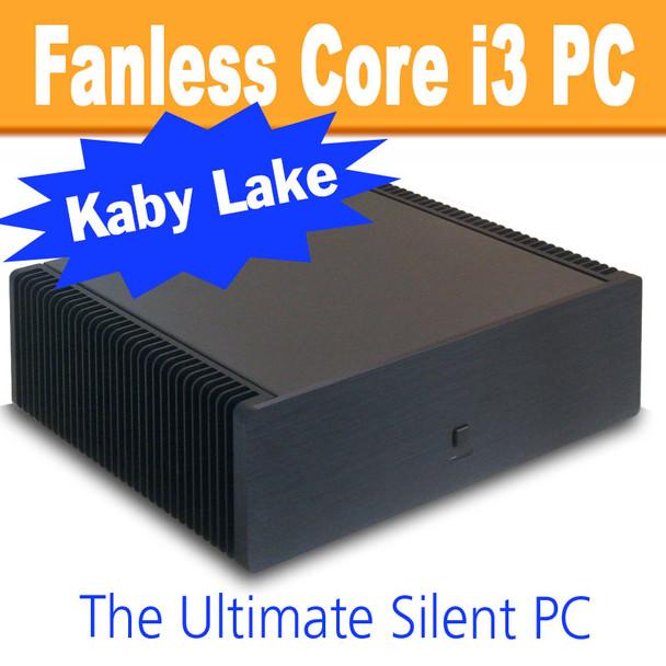 Ultimate Fanless Mini PC, Kaby Lake Core i3, Dual LAN, Displayport, HDMI, 8GB, 250GB SSD [ASUS H110T]