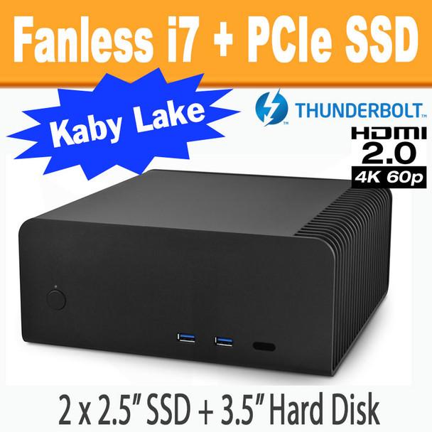 Fanless FC8-Series PC (black) i7 7700T, 8GB, 256GB PCIe SSD, Thunderbolt 3,  HDMI 2 0 [ASRock Fatal1ty Z270]