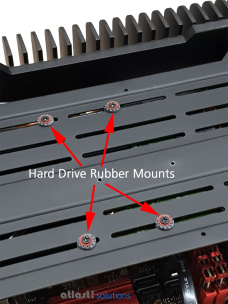 """Neoprene rubber anti-vibration hard drive mounts supplied when choosing a 3.5"""" disk with the order, or the option for """"internal fittings for 3.5"""" HDD""""."""