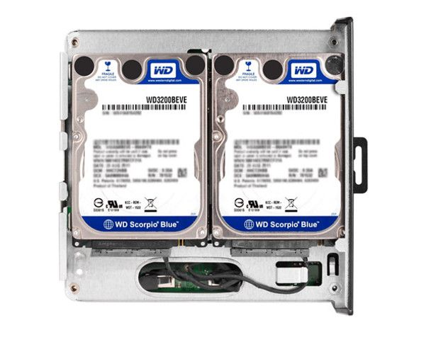 "Showing 2 x 2.5"" Hard Drives mounted inside"