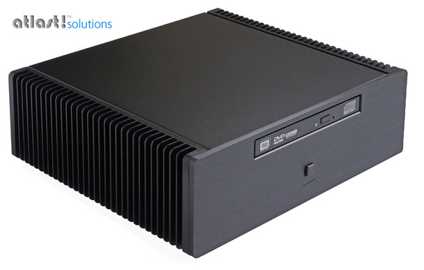 This shows the PC with an optional tray loading DVD installed