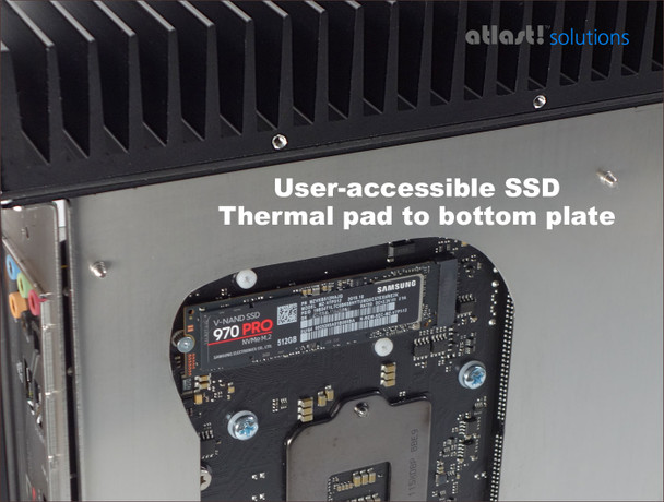 Showing the base plate removed, and thermal pad removed, enabling access to the PCIe SSD on the underside of the motherboard