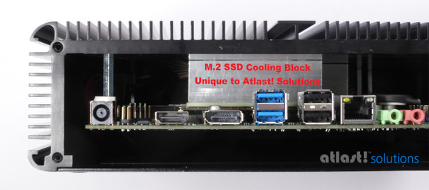 Showing internal M.2 SSD cooling block and thermal pad