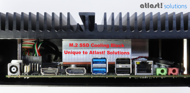 Shows the internal M.2 SSD cooling block
