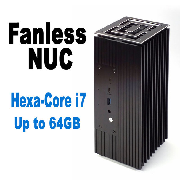 Fanless 10th Gen NUC Core i7 PC, Hexa-Core High Performance, NVMe SSD, Thunderbolt 3, up to 64GB DDR4 [TuringFX-i7]