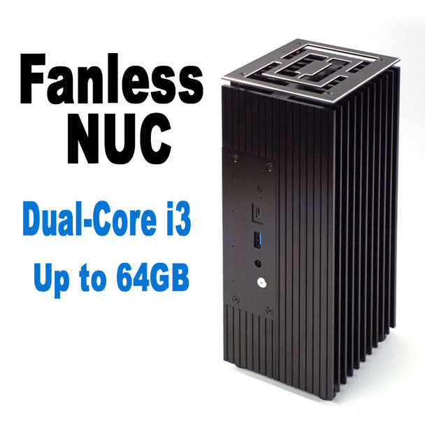 Fanless 10th Gen NUC Core i3 PC, Dual-Core, NVMe SSD, Thunderbolt 3, up to 64GB DDR4 [TuringFX-i3]