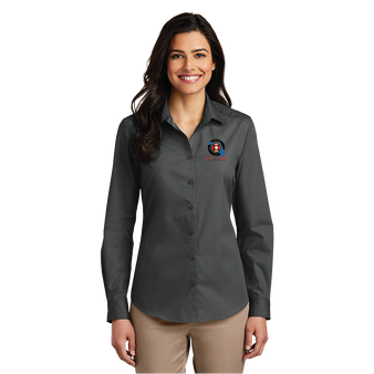 Port Authority Ladies Long Sleeve Carefree Poplin Shirt  - Graphite