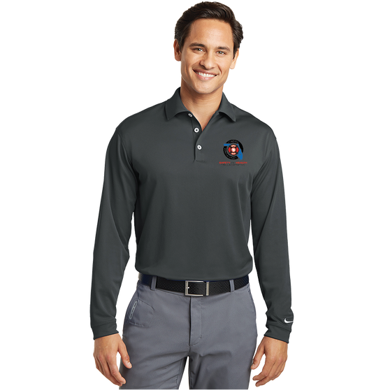 Mens Long sleeve  Nike Dri Fit polo in Anthracite