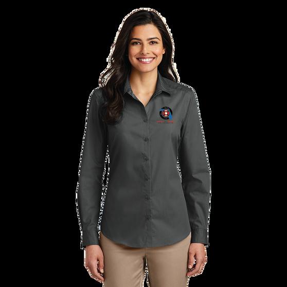 Port Authority Ladies Long Sleeve Carefree Poplin Shirt  - Graphite