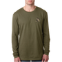 Next Level Men's Cotton Long-Sleeve Crew Military Green Tan/Black Logo