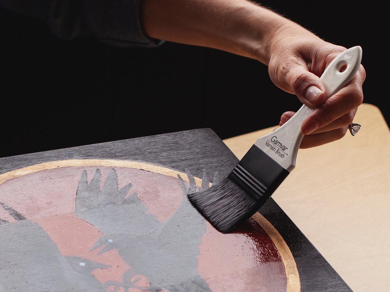 Gamblin Gamvar Varnish brush in use