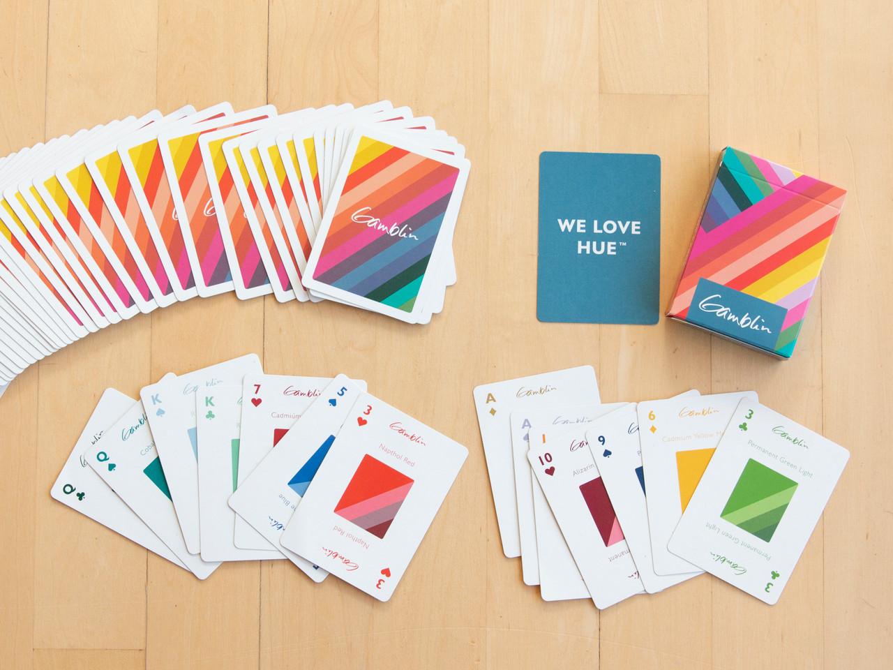Gamblin 52-card deck with oil paint colors on each card