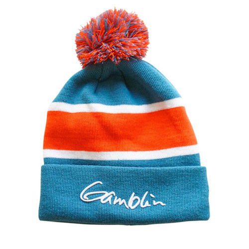 Gamblin pom-pom beanie, stocking cap, blue and red