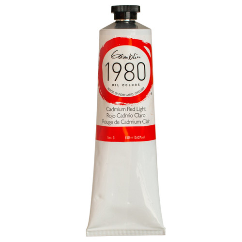 1980, cadmium red, 150 ml, big imperfect tubes, gamblin, colors, series 3