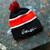 Gamblin pom-pom beanie, stocking cap, black and red