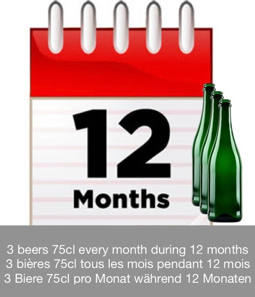 Subscription 12 months: discover 3 beers each month during 12 months.