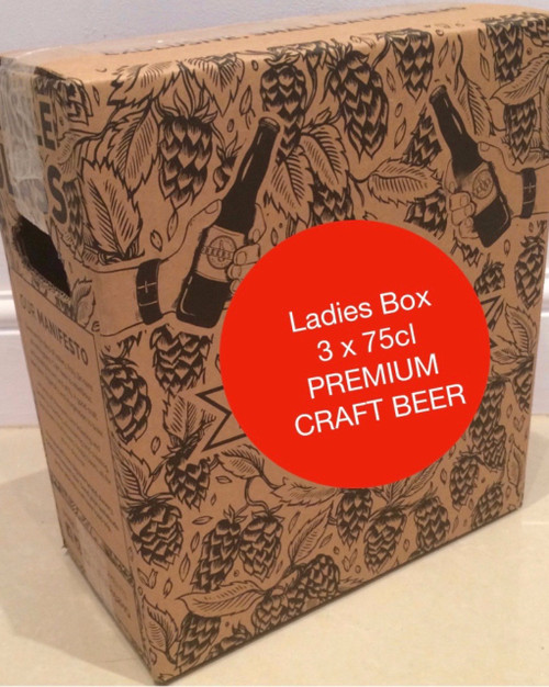 Ladies box containing 3 bottles of 75cl beer, especially appreciated by women: White Colomba 75cl, Bourgogne des Flandres 75cl and Liefmans Kriek Brut 75cl (Cherries).