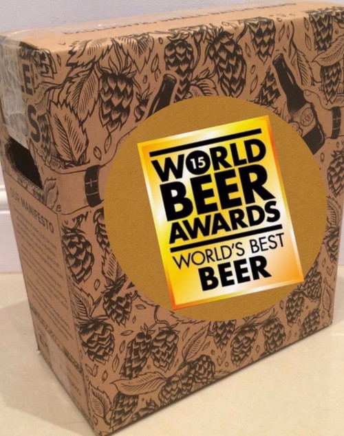 Beer tasting box containing 6 x 75cl bottles of premium craft beers that have got an international award.