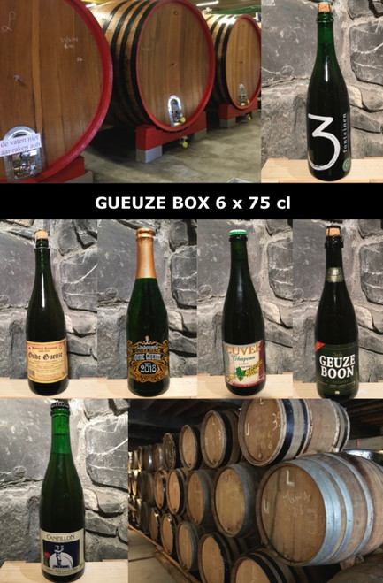 The Gueuze discovery box contains 6 famous Belgian Gueuze: Cantillon, 3 Fonteinen, Hanssens, Boon, Lindemans and De Troch.