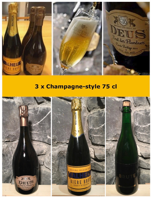 Champagne beer box containing 3 beers in 75cl of champagne style