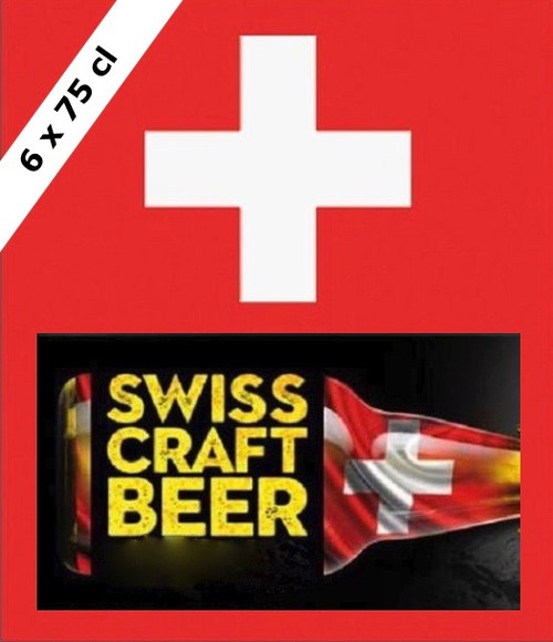SWISS BEERS Box containing 6 swiss beers in 75cl bottles
