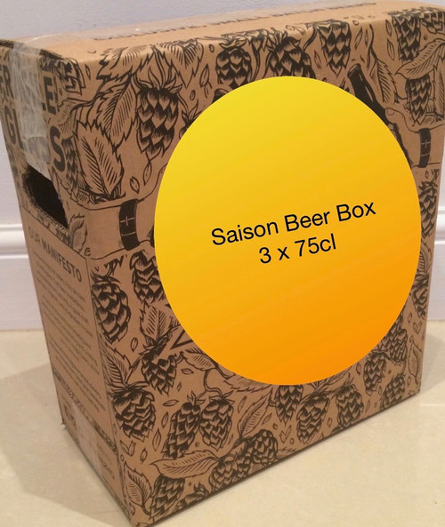 The saison beer box contains 3 different saison beers in 75cl bottles.