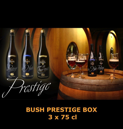 The BUSH beer tasting box, 3 x 75cl, contains the 3 Bush beers in 75 cl: Bush Prestige, matured in wine barrels, Bush de Nuits, matured in barrels of the famous Nuits St Georges and Bush de Charmes wines, matured in barrels of the famous Bourgogne Charmes de Meursault.