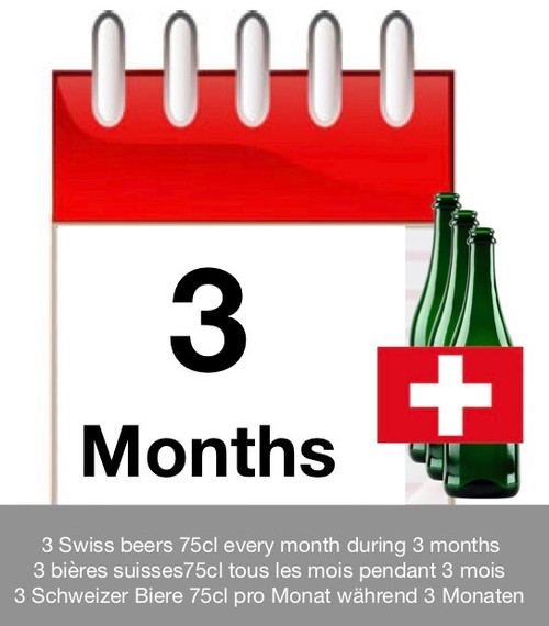 Subscription of 3 months: discover 3 Swiss beers each month during 3 months.