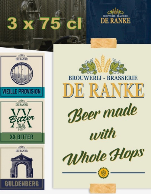 De Ranke Box 3 x 75cl contains 3 bottels of 75cl from the brewery De Ranke: Guldenberg, Vieille Provision and XX Bitter