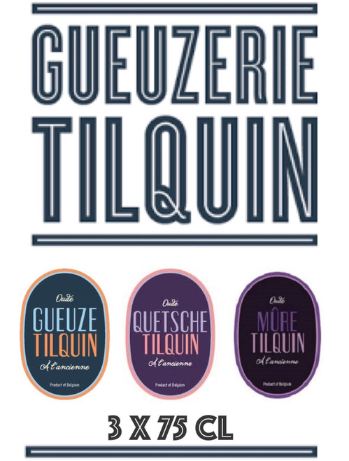 Tilquin box 3 x 75cl contains the Oude Gueuze, the Quetsche and the Mûre.