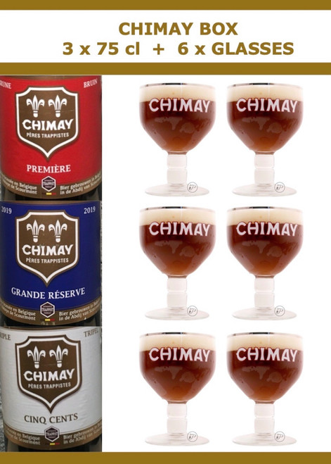 Chimay Box 3 x 75cl + 6 x Glasses