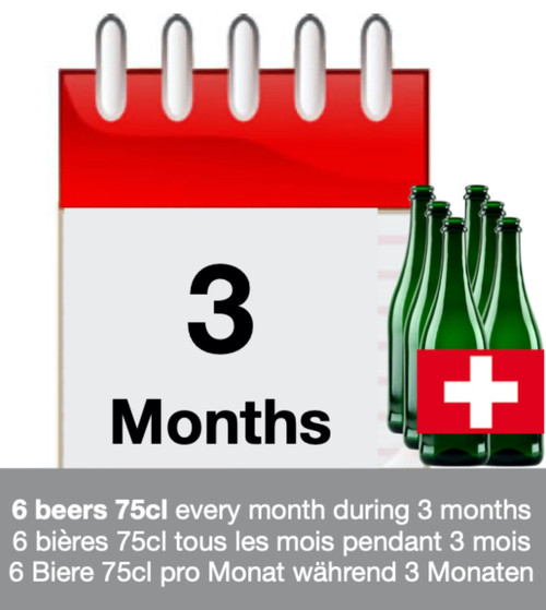 Subscription of 3 months: discover 6 Swiss beers each month during 3 months.