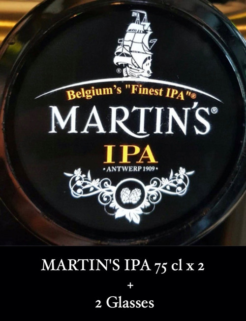 Box containing 2 x 75cl MARTIN'S IPA and 2 glasses