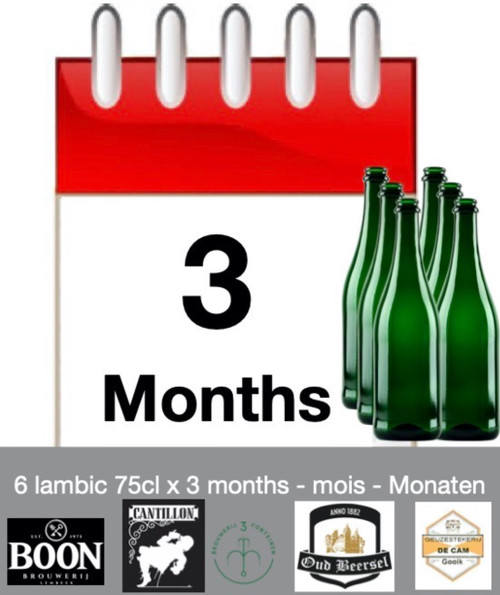 Lambic subscription of 3 months: discover 6 lambic each month during 3 months.
