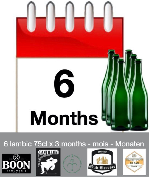 Lambic subscription of 6 months: discover 6 lambic each month during 6 months.