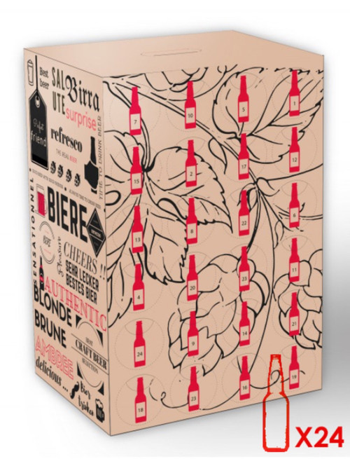 The Advent Calendar beer box contains 24 small bottles of craft Belgian beers.