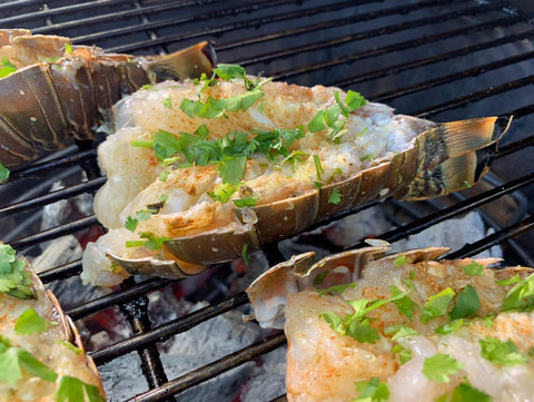 What's Cookin' with Cptn Ron: Ceviche Style Grilled Lobster Tails on the Big Green Egg