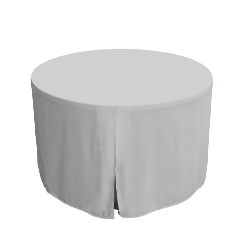 48-Inch Fitted Round Table Cover - Silver