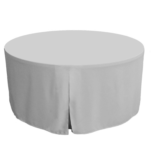 60-Inch Fitted Round Table Cover - Silver