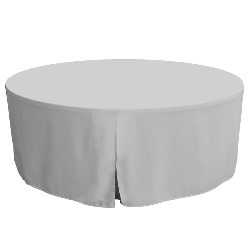 72-Inch Fitted Round Table Cover - Silver