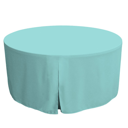 60-Inch Fitted Round Table Cover - Turquoise