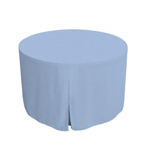 48-Inch Fitted Round Table Cover - Blue Chambray