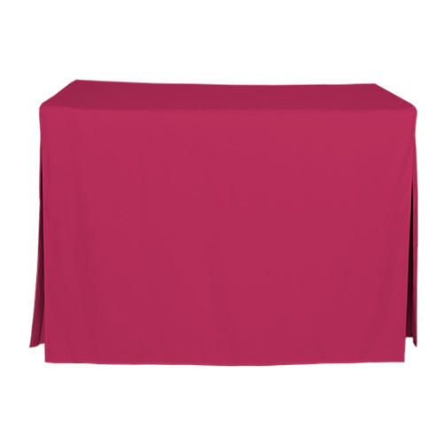 "Tablevogue is a fitted table cover or custom-sized table cloth. This fitted table cloth is a solid Fuchsia table cloth, or as we call it table cover, is designed to fit a standard 4-foot folding table.  Made from 100% woven polyester 300 thread count fabric. Stitched edges create a custom look while to-the-floor coverage neatly disguises table legs. This table cloth cover makes outdoor entertaining and buffet style service a breeze!  Our custom fitted table cloth can be screen printed or embroidered to match your brand.   Dimensions: 29"" high x 24"" wide x 48"" long, fits a standard 4-foot folding table.  Care Instructions: 100% heavy weight Polyester, Machine wash warm, tumble dry low. Patented Soil-Release Feature allows laundering at 120 degree water temp (as opposed to 160 degrees) - reducing rejects, providing a longer shelf life, conserving energy, and saving money.  More Info: Tablevogue offers a variety of table cloths including a card table covers, round table covers, banquet table covers, square table covers and rectangle table covers. Tablevogue fitted table covers are made to fit standard folding tables."