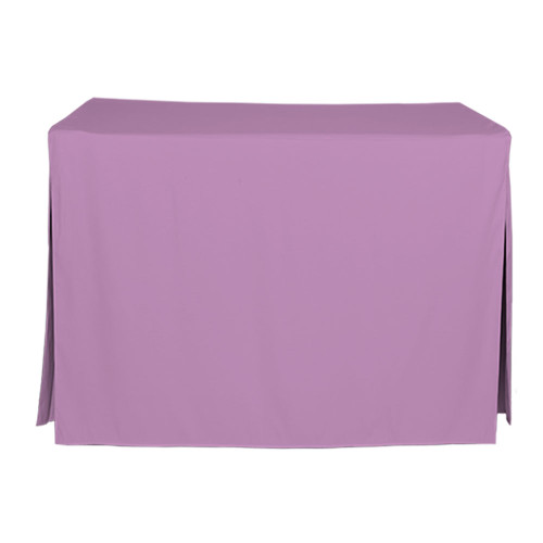 "Tablevogue is a fitted table cover or custom-sized table cloth. This fitted table cloth is a solid Lilac table cloth, or as we call it table cover, is designed to fit a standard 4-foot folding card table.  Made from 100% woven polyester 300 thread count fabric. Stitched edges create a custom look while to-the-floor coverage neatly disguises table legs. This table cloth cover makes outdoor entertaining and buffet style service a breeze!   Our custom fitted table cloth can be screen printed or embroidered to match your brand.  Dimensions: 29"" high x 24"" wide x 48"" long, fits a standard 34-inch folding card table.  Care Instructions: 100% Polyester, Machine wash warm, tumble dry low. Patented Soil-Release Feature allows laundering at 120 degree water temp (as opposed to 160 degrees) - reducing rejects, providing a longer shelf life, conserving energy, and saving money.   More Info: Tablevogue offers a variety of table cloths including a card table covers, round table covers, banquet table covers, square table covers and rectangle table covers. Tablevogue fitted table covers are made to fit standard folding tables."