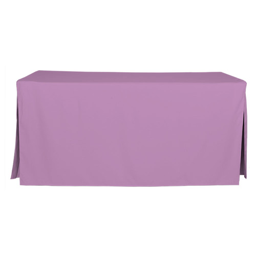 "Tablevogue is a fitted table cover or custom-sized table cloth. This fitted table cloth is a solid Lilac table cloth, or as we call it table cover, is designed to fit a standard 6-foot folding table.  Made from 100% woven polyester 300 thread count fabric. Stitched edges create a custom look while to-the-floor coverage neatly disguises table legs. This table cloth cover makes outdoor entertaining and buffet style service a breeze!  Our custom fitted table cloth can be screen printed or embroidered to match your brand.  Dimensions: 29"" high x 30"" wide x 72"" long, fits a standard 6-foot folding table.  Care Instructions: 100% Polyester, Machine wash warm, tumble dry low. Patented Soil-Release Feature allows laundering at 120 degree water temp (as opposed to 160 degrees) - reducing rejects, providing a longer shelf life, conserving energy, and saving money.   More Info: Tablevogue offers a variety of table cloths including a card table covers, round table covers, banquet table covers, square table covers and rectangle table covers. Tablevogue fitted table covers are made to fit standard folding tables."